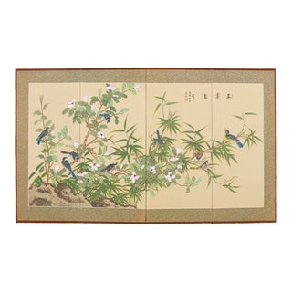 Japanese Byobu Style Silk Four-Panel Screen For Sale