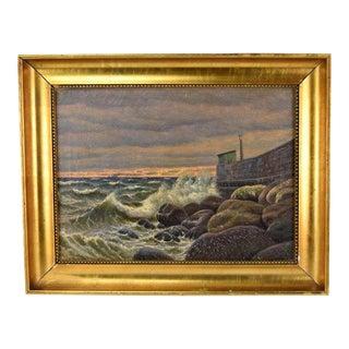 1921 Seawall Danish Oil Painting For Sale