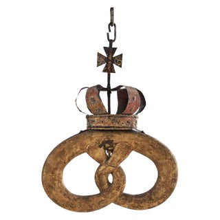 1880 Gilt Tole and Wood Pretzel Sign With Royal Warrant For Sale