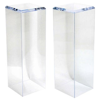 Showroom Sample - Custom Designed Lucite Pedestals by Iconic Snob Galeries - a Pair For Sale