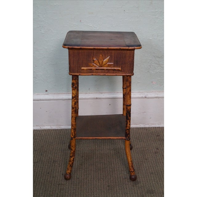 Antique Burnt Bamboo Rattan Lift Top Side Table - Image 2 of 8