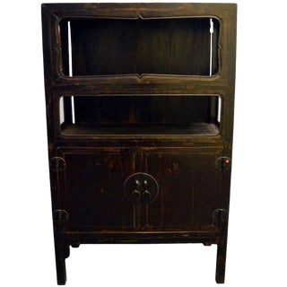 Antique Chinese Dark Brown Lacquer Display Cabinet with Hardware, 19th Century For Sale