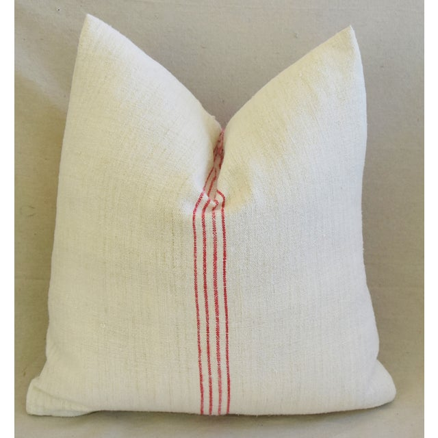 Cotton French Country Red Striped Gain Sack Pillows - Pair For Sale - Image 7 of 11