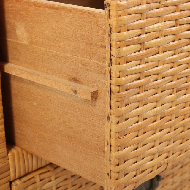 Lacquered Rattan Bachelor Chest (Pair Available) For Sale - Image 12 of 13