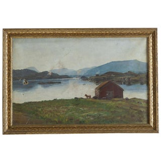 Antique New England Farm Landscape Painting