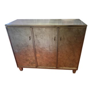 Swaim Rustic European Mirrored Chest/Cabinet For Sale