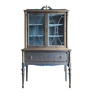 1940s Chinoiserie Hand-Painted Hutch