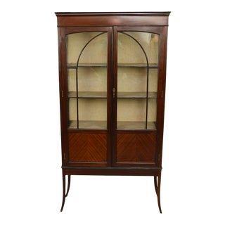 Antique English Mahogany China Cabinet For Sale