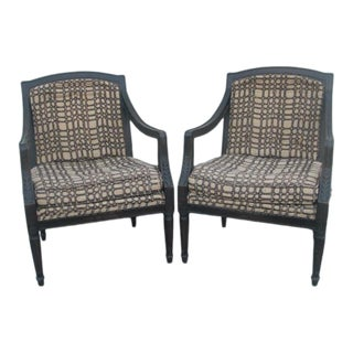 Vintage Mid Century Wood Armchairs- A Pair For Sale