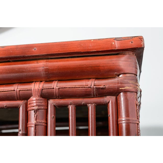 Red Antique Chinese Chippendale Bamboo Altar Table/Console For Sale - Image 8 of 13