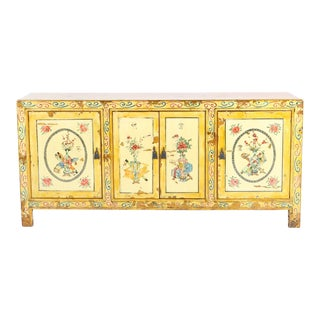 Chinese 4 Door Yellow Decorated Sideboard For Sale