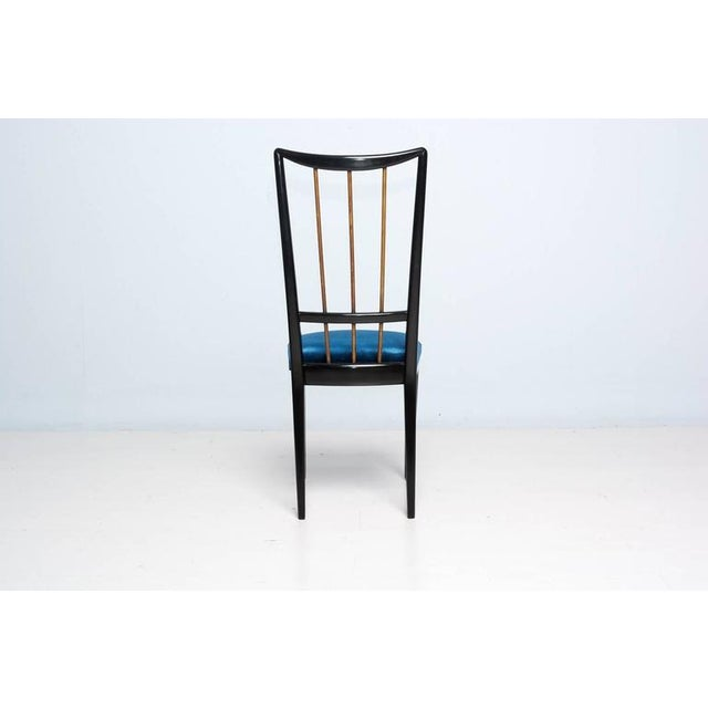 Mahogany Table & Blue Velvet Dining Chair Set For Sale - Image 4 of 9