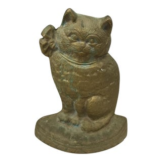 Vintage Brass Kitty Statue For Sale
