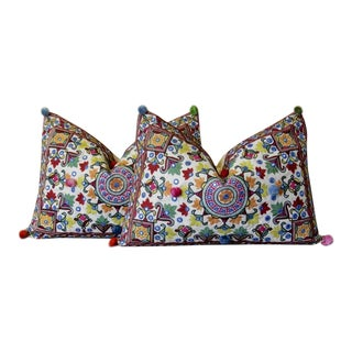 Mandala Pom-Pom Embroidered Pillows, Set of 2 For Sale