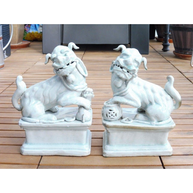 18th C / 19th C Qing Dynasty Chinese Celadon Foo Dogs - a Pair For Sale - Image 13 of 13