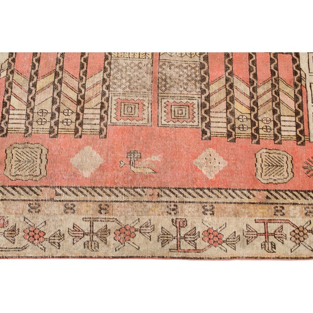 "Antique Khotan Pink Jewel Tone Hand-Knotted Rug -4'4""x 8'1"" - Image 4 of 4"