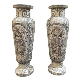 Handcarved Bone Chinoiserie Urn Shaped Candle Holders - a Pair For Sale