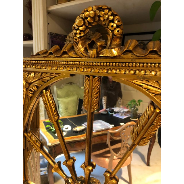 1900 - 1909 French Neoclassical Revival Giltwood Mirror and Upholstered 3-Panel Screen For Sale - Image 5 of 13
