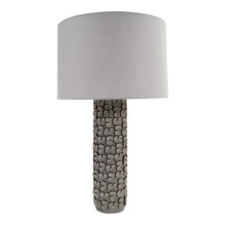 Arteriors Organic Modern Gray Ceramic Palma Table Lamp For Sale