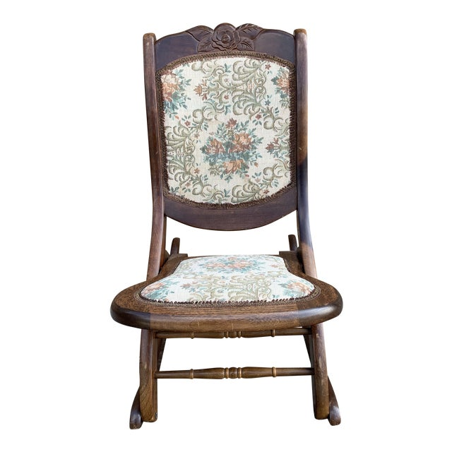 Vintage Victorian Style Upholstered Folding Rocking Chair For Sale