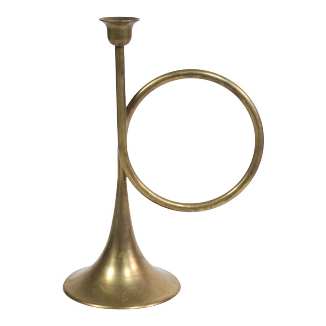 1940s Large Mid-Century Brass Christmas French Trumpet Candle Holder For Sale - Image 5 of 5