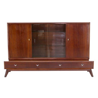 Two Part Mid Century Modern Walnut Credenza or Low China Cabinet For Sale