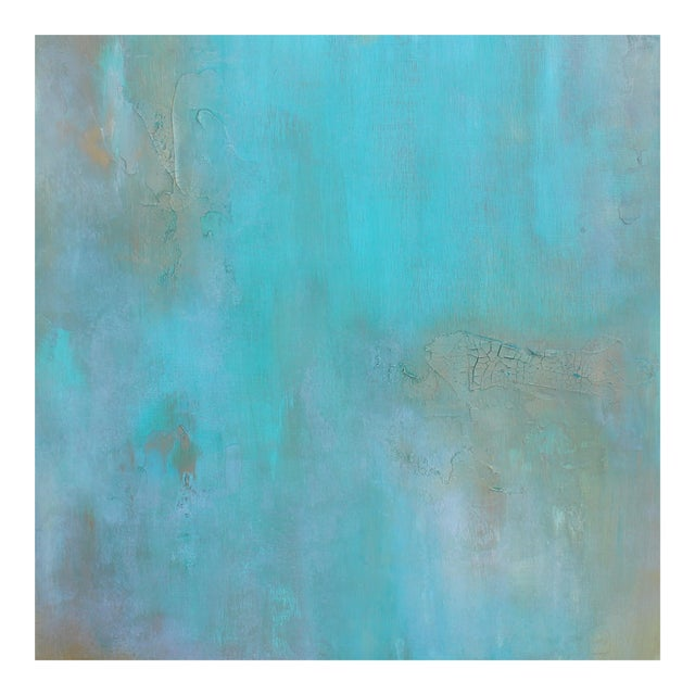 Original Abstract Modern Art Painting Atlantis Turquoise Textured Wood Artwork - Image 1 of 4