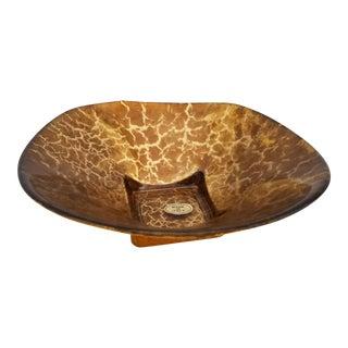 Italian Tortoise Shell Murano Glass Bowl For Sale
