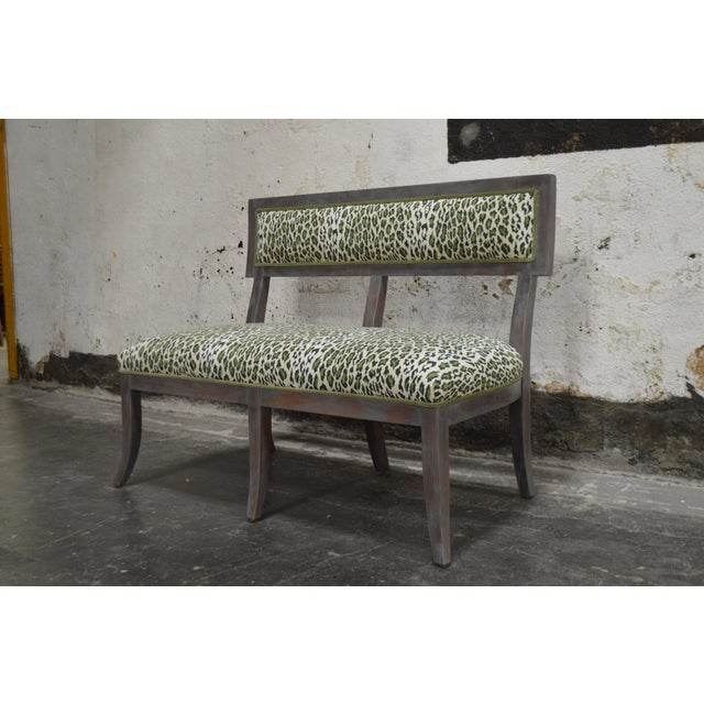 2010s Gray Dining Banquette in Green Leopard For Sale - Image 5 of 8