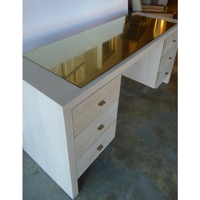 Paul Marra Modern Desk in Bleached Oak with Brass For Sale - Image 4 of 9