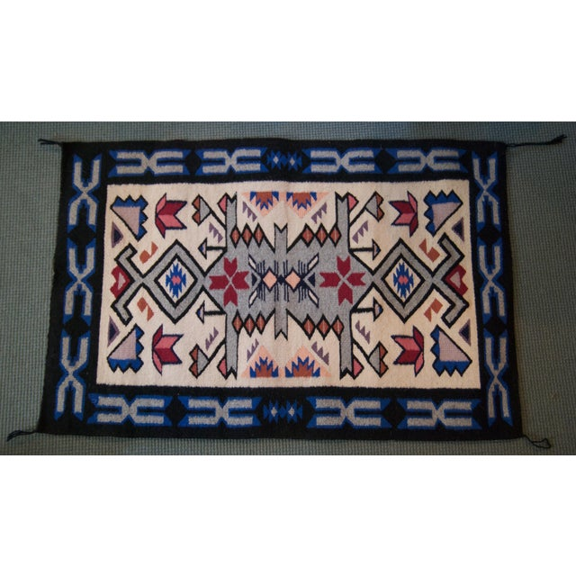 Vintage Navajo Hand Loomed Geometric Rug by Ella John- 2′1″ × 3′2″ For Sale - Image 12 of 12