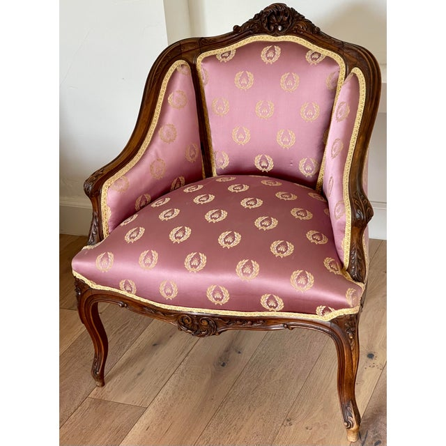 Antique French Provincial Vanity Stool W Napoleonic Bee Silk Fabric For Sale In Los Angeles - Image 6 of 6
