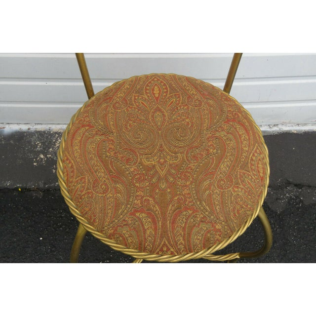 1970s Vintage Hollywood Regency Painted Gold Iron Vanity Stool For Sale - Image 4 of 11