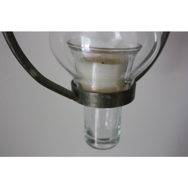 Vintage Iron & Glass Candle Pendant - Image 3 of 4