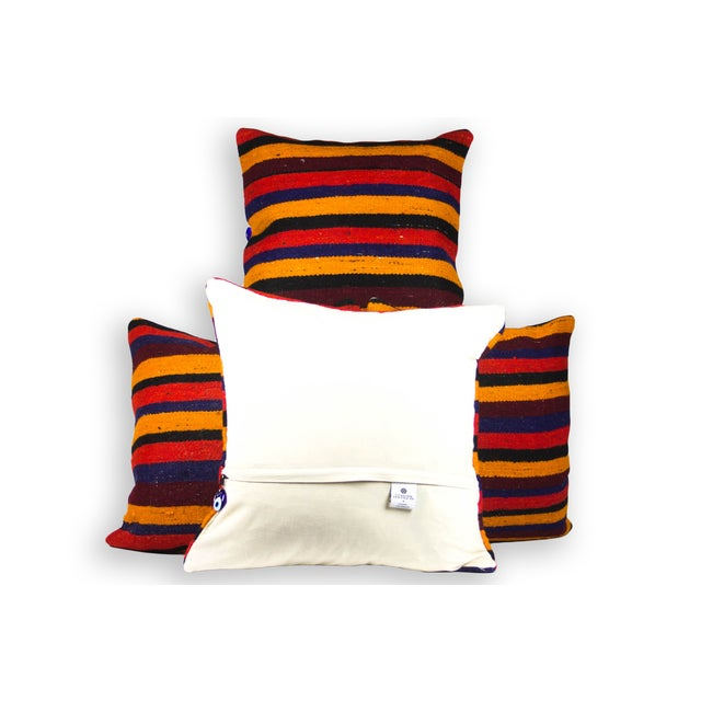 """Red Striped Matching 20"""" Kilim Pillows - Set of 4 - Image 3 of 3"""