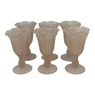 1960s Indiana Glass Company Pink Frosted and Ruffled Sundae Goblets - Set of 6 For Sale