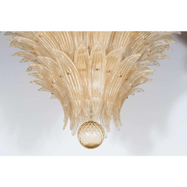 Mid-Century Modern Exquisite Five-Tier Handblown Champagne Murano Glass Palma Chandelier For Sale - Image 3 of 9
