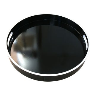 French Paris Black and White Round Bar Tray For Sale