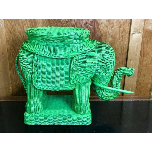 1960s Chinese Export Polychromed Wicker Elephant Garden Seats - a Pair For Sale - Image 5 of 10
