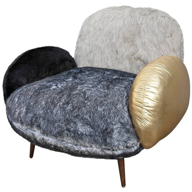 Not Yet Made - Made To Order Faux Fur and Leather Lounge Chair For Sale - Image 5 of 9