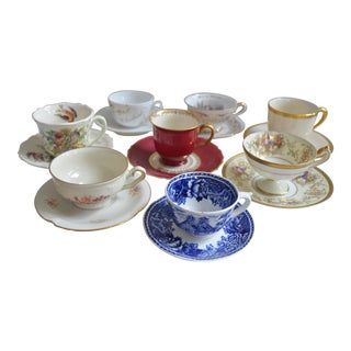 Vintage Collection of Small Cups & Saucers - Set of 8 For Sale