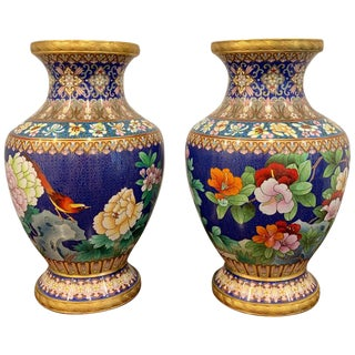 Pair of Chinese Cloisnonne Vases, Bird and Flower Motif For Sale