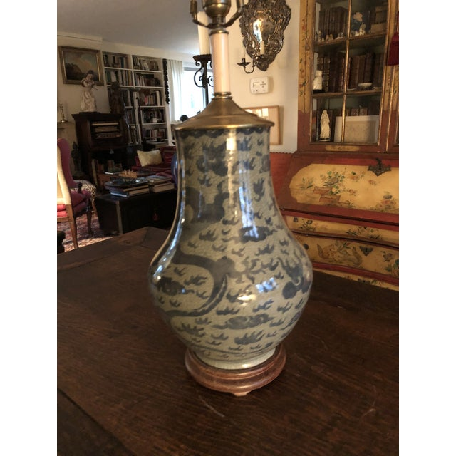 Antique Chinese Hu Form Blue & White Smooth Glaze Ko Ware Vase as Table Lamp. Dragon and Bats design as shown. Excellent...
