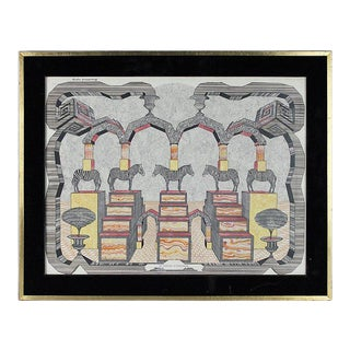Framed Surrealistic Drawing by Pedro Friedeberg For Sale