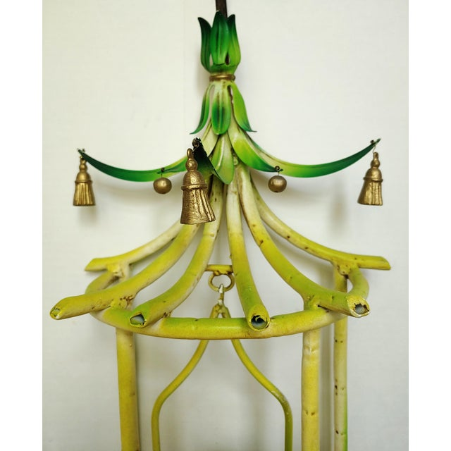 Metal Faux Bamboo Tole Pagoda With Songbird Sconces - a Pair For Sale - Image 7 of 10