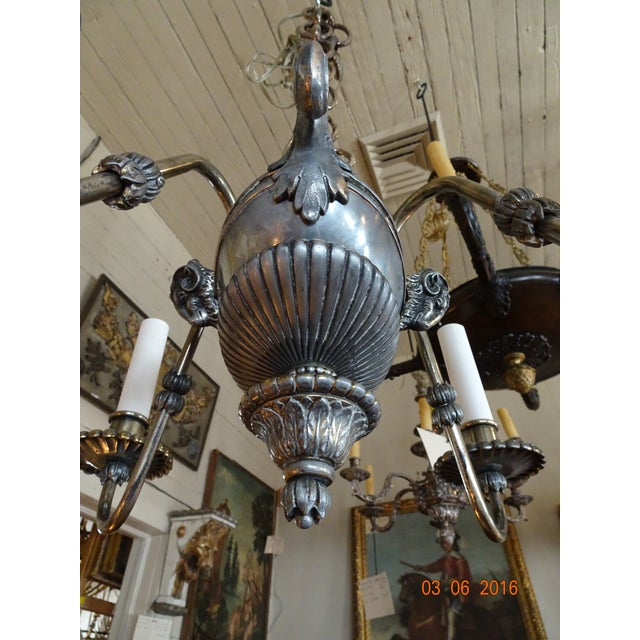 Gray Small French 19th Century Pewter Chandelier For Sale - Image 8 of 11