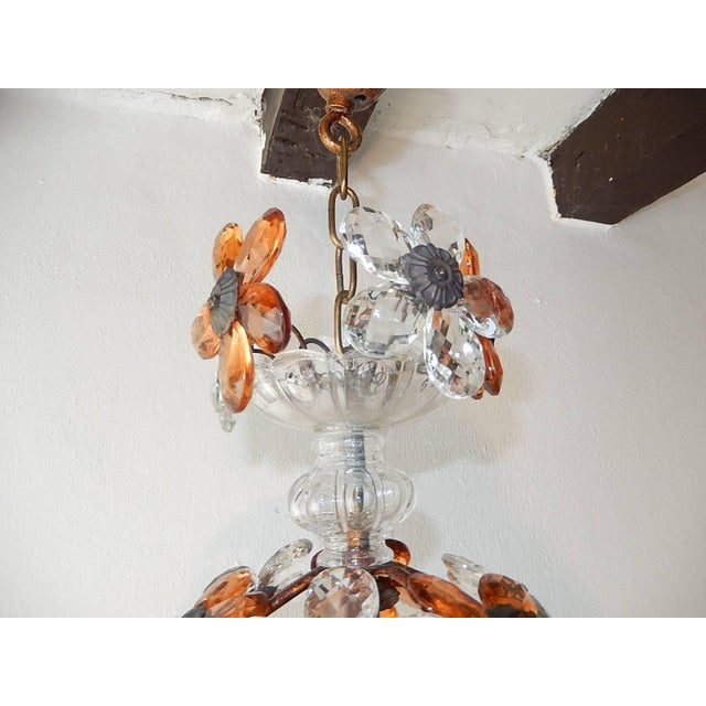 French Clear and Peach Crystal Flowers Maison Baguès Style Chandelier For Sale - Image 3 of 8