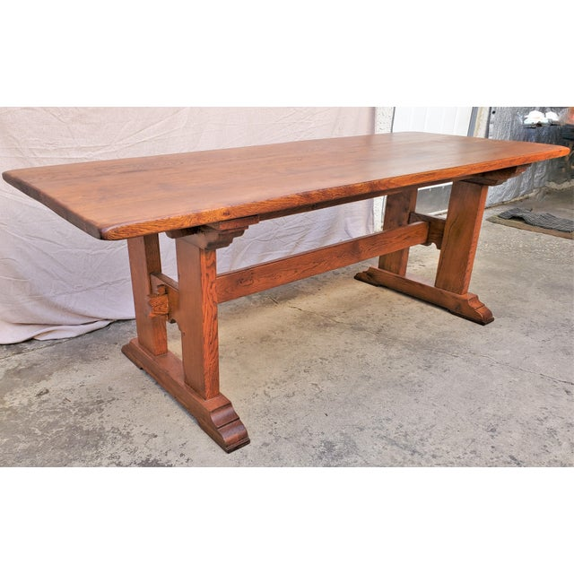 Antique Plank Solid Oak Refectory Dining Table With a Pair of Monastery Benches - 3 Pieces For Sale - Image 9 of 13