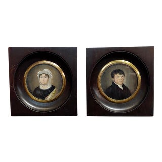 """18th Century English School """"Husband & Wife Portraits"""" Miniature Paintings - a Pair For Sale"""