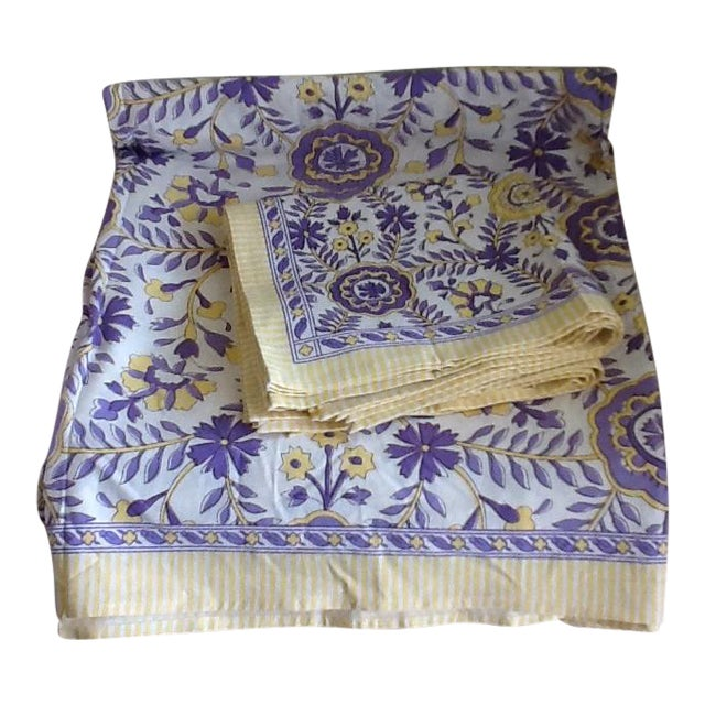 Tuscany Style Tablecloth & Napkins - Set of 8 For Sale